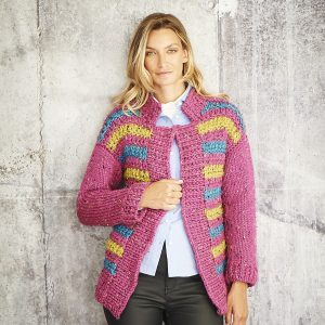 Ladies Striped Cardigan Super Chunky Pattern Stylecraft 9809