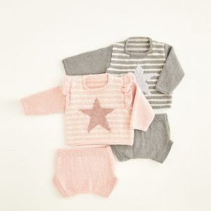 Babies Sweater and Pants Pattern Hayfield 5421 Loza Wool Dublin