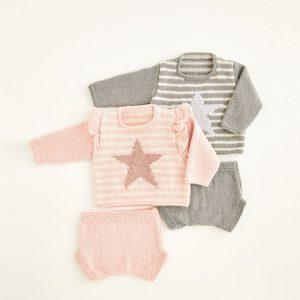 Babies Sweater and Pants Pattern Hayfield 5421 Loza Wool Dublin