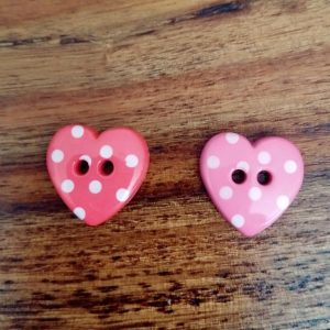 Polka Dot Heart Buttons