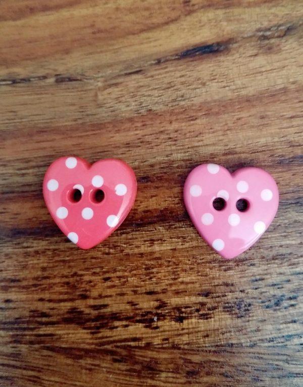 Polka Dot Heart Buttons